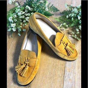 Cole Haag suede loafer shoes mustard yellow 5.5
